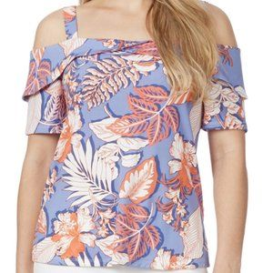 Rockmans Blue Floral Cold Shoulder Relaxed Fit Top Multiple Size's Available